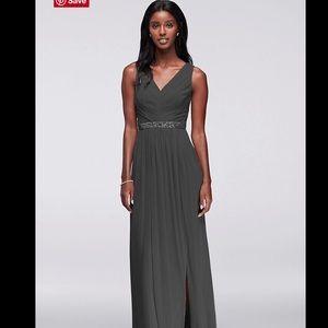 David's Bridal Bridesmaid Long Mesh Beaded Dress